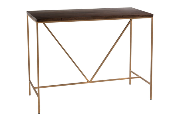 Console Rafi 2planches Fer/Bois De Manguier Or/Brun Fonce Mango Wood Gold Brown