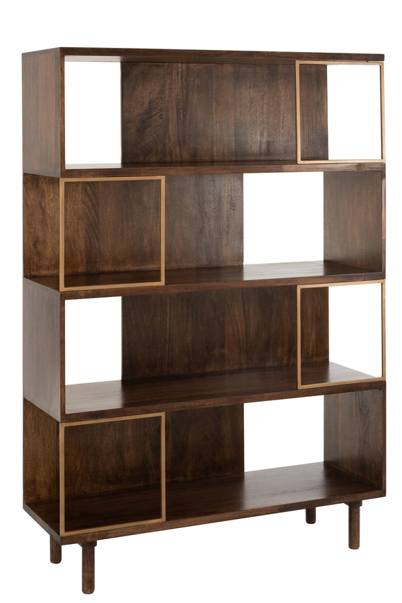 Etagere Rafi 4 Niveau Fer/Bois De Manguier Or/Brun Fonce Rack Mango Wood Gold Brown