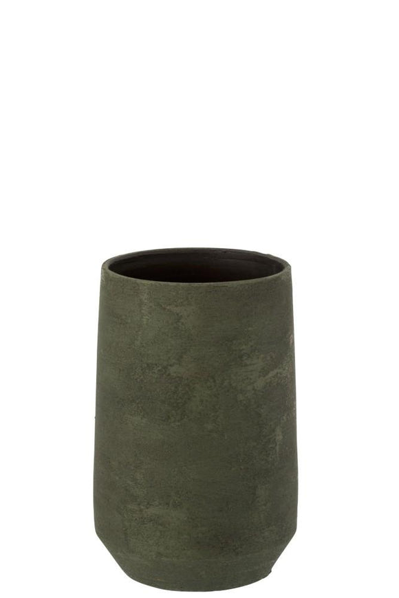 Vase Irregular Rough Ceramic Green