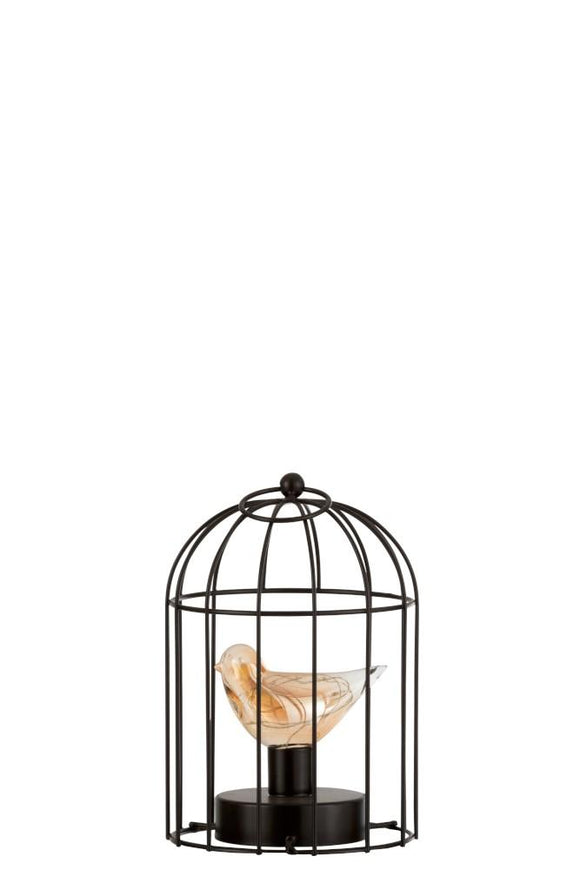 Lampe Led Cage Metal Marron