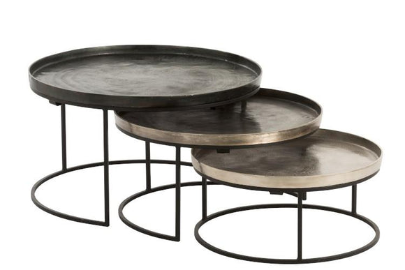 Set De 3 Table Gigogne Ronde Aluminium Noir/mix