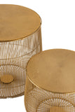 Set De 2 Table Gigogne Panier Metal Or Side Tables Basket Gold