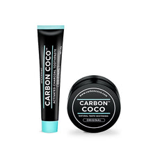 """Black Friday 17% OFF"" Activated charcoal tooth powder + whitening toothpaste set"