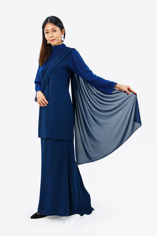 Arabella Kurung in Navy Blue