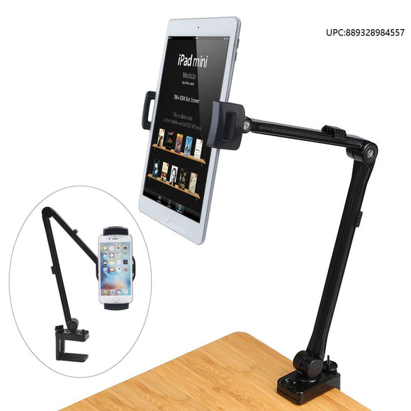 Tablet Stand/Cellphone Holder, ieGeek Tablet Holder Metal Bolt Clamp Stand Desk Mount Lazy Bracket 360° Rotating Adjustable Long Arm Holder Hands-Free for 4