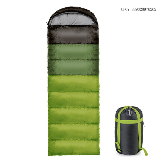 ieGeek Sleeping Bag Warm 350g Filling Envelope Lightweight & Breathable Sleep Sack With Compression Carry Bag For 4 Season Camping, Travelling, Hiking, Backpacking (Green)