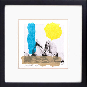 This framed Collage features a stylized photograph of the huge granite boulders within the Joshua Tree National Park, USA.