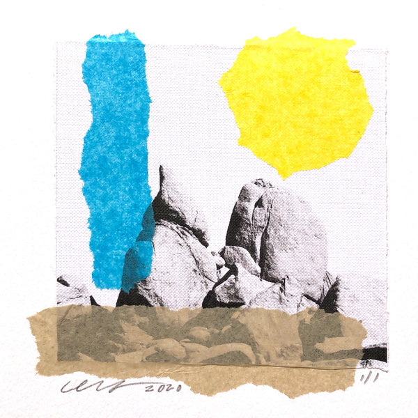 "Collage featuring stylized photograph of granite boulders in Joshua Tree National Park, USA. Unframed 9"" x 12"" Horizontal."