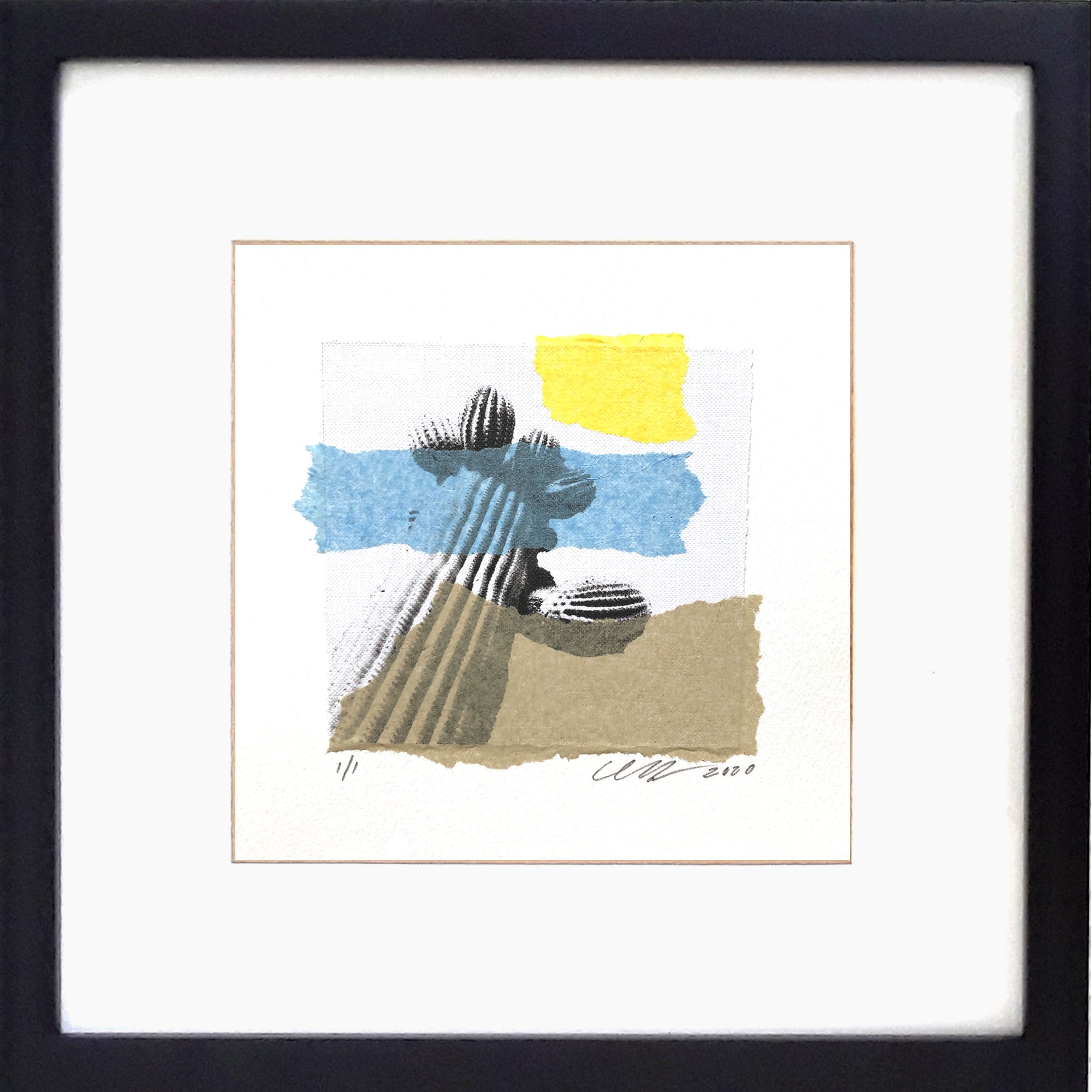 "Ols Soul collage features an ancient saguaro castus with numerous arms. 12"" x 12"" Framed."