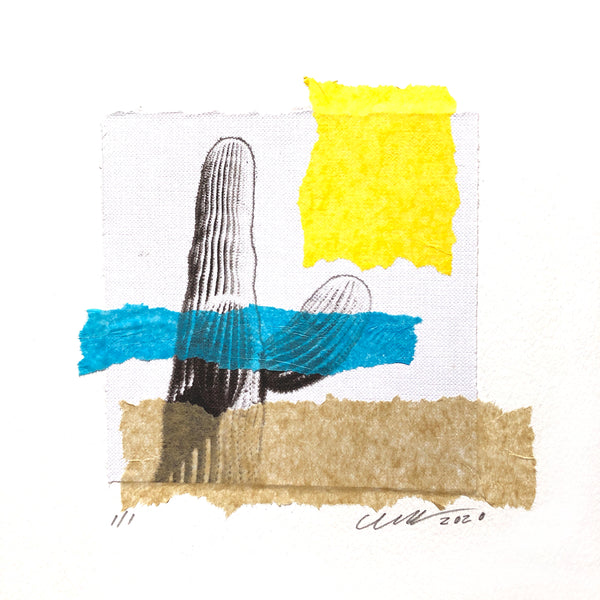 "The Desert Arms Collage features and ancient cactus proudly reaching for the clear Arizona sky. 12"" x 12"" Framed"