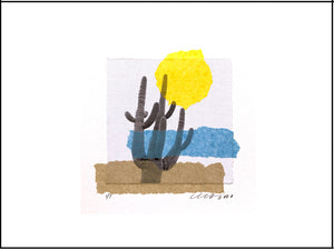 "Sonoran Summer Art Collage features the mighty Saguaro Cactus. Unframed 9""x12"" Horizontal."
