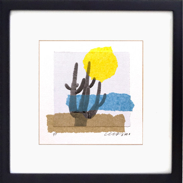 "Sonoran Summer Art Collage features the mighty Saguaro Cactus. Framed 12""x12"""