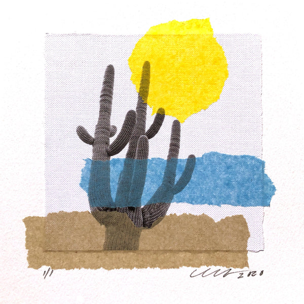 "Sonoran Summer Art Collage features the mighty Saguaro Cactus. Framed 12"" x 12"""