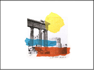 "Greek Column Bliss collage. Photograph by Gladys E Rejesa Young. Createor David John Heath. Unframed 9"" x 12"" Horizontal."
