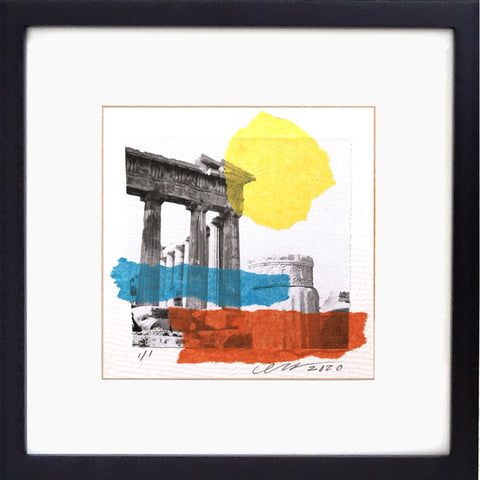 "Greek Column Bliss collage. Photograph by Gladys E Rejesa Young. Createor David John Heath. Framed 12"" x 12"""