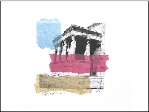 "Maidens Collage features an abstract rendition of the Porch of Caraytis on the Erechtheion in Ancient Athens Greece. 9"" x 12"" Unframed."