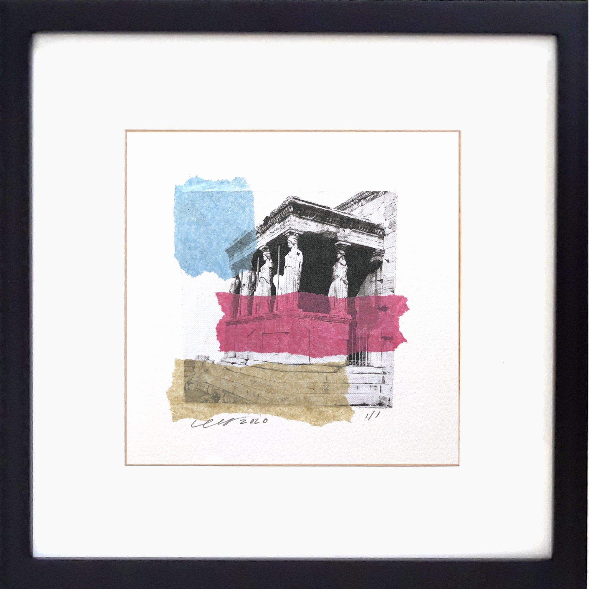 "Maidens Collage features an abstract rendition of the Porch of Caraytis on the Erechtheion in Ancient Athens Greece. 12"" x 12"" Framed."