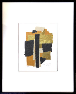 "The Black Gold Abstract Collage features golden foils and matte black and brown papers. 13"" x 18"" Metal Frame."