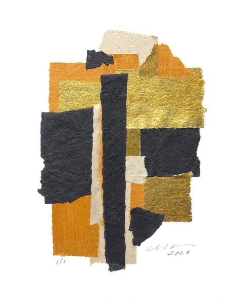 "The Black Gold Abstract Collage features gold toned foils and matte black textured papers. 9"" x 12"" Vertical Unframed."