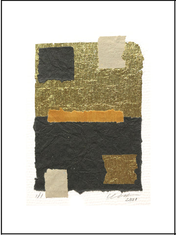 "The Squares Abstract Collage features eye-catching bright, golden crepe foil. Unframed 9"" x 12"""