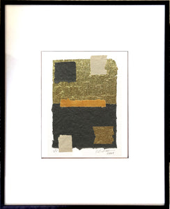 "The Squares Abstract Collage features eye-catching bright, golden crepe foil. Black Metal Frame 13"" x 18"""