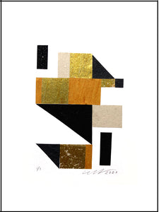 "The Stairway Abstract Collage features gold tone, black matte, and black glitter media. 9"" x 12"" Unframed."