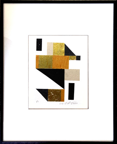 "Stairway Abstract Collage feaures bright goldtone foils, matte and glitter black geometric shapes. 13"" x 19"" Black Metal Frame."