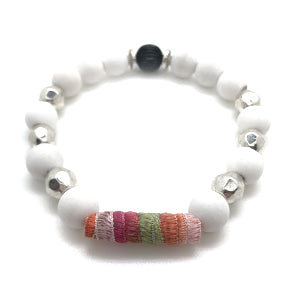 "MancessoriesUSA Warm Tone Ribbon Bracelet includes durable ribbon ""bead"", silvertone and alabaster beads."