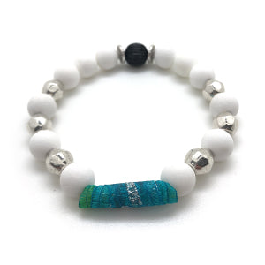 "MancessoriesUSA Cool Tone Ribbon Bracelet includes durable ribbon ""bead"", silvertone and alabaster beads."