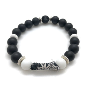 "MancessoriesUSA Cool Tone Ribbon Bracelet includes durable ribbon ""bead"", silvertone and matte onyx beads."