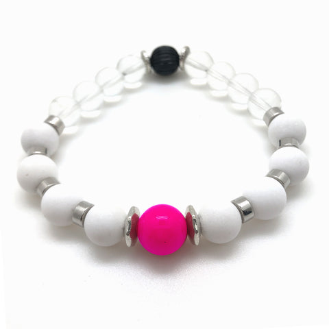 The Marilyn Bracelet features a Hot Pink feature surrounded by White Alabaster and Clear Glass Beads. Part of the Palm Springs Collection by MancessoriesUSA.