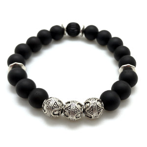 Bali Bracelet by MancessiriesUSA features Antique Silver Finished Bali beads and Matte Black Onyx beads.