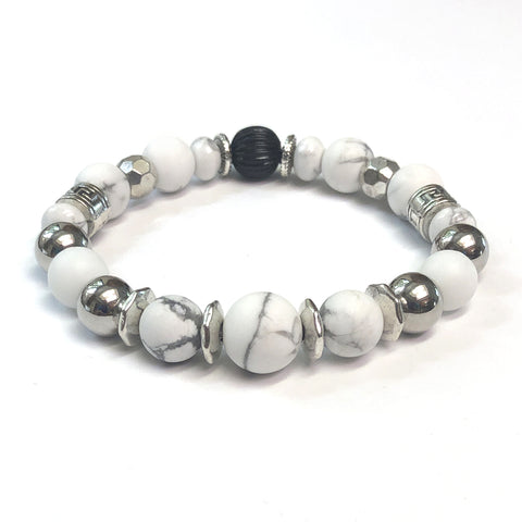MancessoriesUSA Blanco Bracelet constructed with White Howlite, Porcelain and Silver Finished Beads