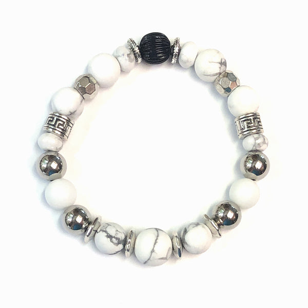 Blanco Bracelet by MancessoriesUSA features White Howlite and Porcelain Beads