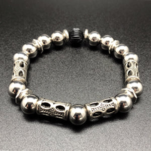 Butch Bracelet constructed of Stainless Steel and Silver finished beads. The heaviest bracelet in our lineup.