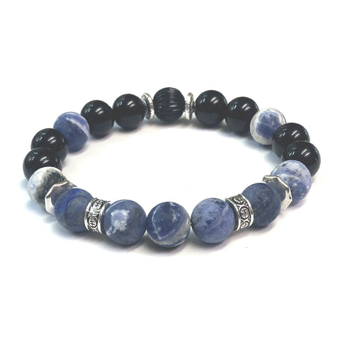 The MancessoriesUSA Denim Bracelet rich with Lapiz Lazuli and Blue Sodalite gemstones.