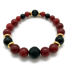 "MancessoriesUSA Embers bracelet features Red ""jade"" dolomite and onyx semi-precious stones."