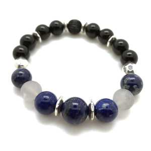 MancessoriesUSA Exec Bracelet features Lapis Lazuli, Clear Quarts, and Gloss Onyx for sophistication and power.