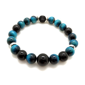 The MancessoriesUSA Hawkeye Bracelet features luxurious Blue Tiger Eye and Black Onyx semi-precious stones.