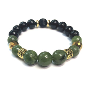 The Mossy Men's Bracelet by MancessoriesUSA features Nephrite and Black Onyx gemstones and golden accents.