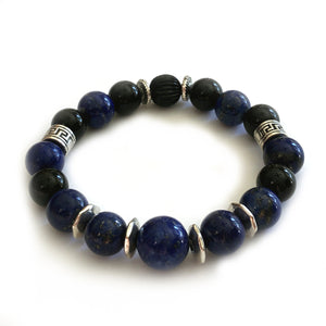 The Royalty Bracelet by MancessoriesUSA features the utlra lux Lapiz Lazuli semiprecious stones.