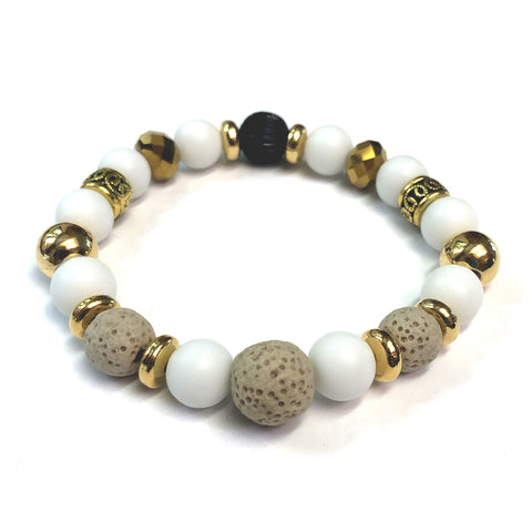 MancessoriesUSA Sahara Bracelet features Tan Lava and White Porcelain beads, accented with Gold spacers.