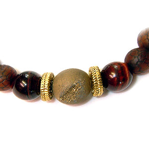 Sunsetter Men's Bracelet featuring Gold Druzy Center Stone