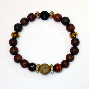 Sunsetter Men's Bracelet featuring Gold Druzy and Tiger's Eye Semi Precious Stones