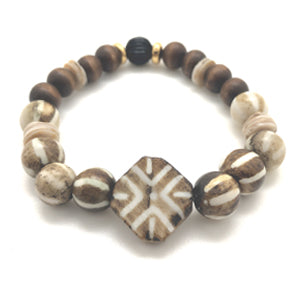Surfer Bracelet by MancessoriesUSA features Handmade African Bone Beads and Wooden Beads.
