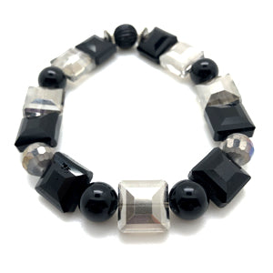 Swag Bracelet by MancessoriesUSA features Square Cut Clear and Black Crystals and Black Onyx.