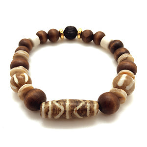 The Tribal Bracelet from MancessoriesUSA features Bone Beads imported from Africa.