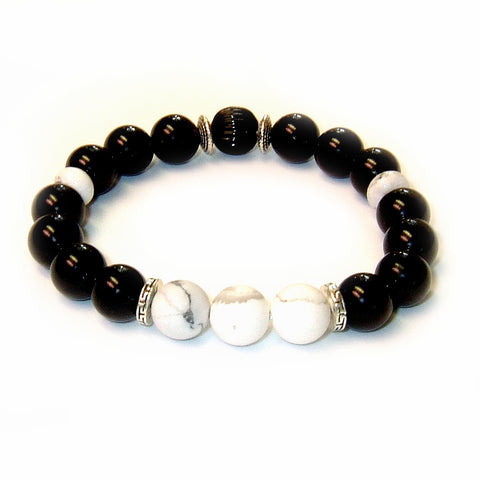 Tuxedo Men's Bracelet with White Howlite and Onyx Gemstones