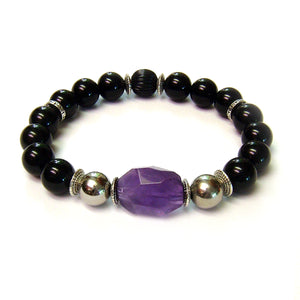 Urbanite Men's Bracelet with Amethyst, Stainless Steel and Onyx.