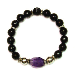 Urbanite Men's Bracelet with Amethyst, Stainless Steel and Onyx